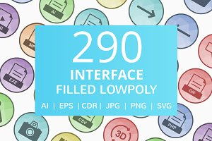 290 Interface Filled Low Poly Icons