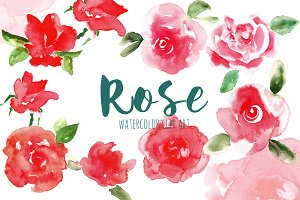 Red Rose. Watercolor clip art