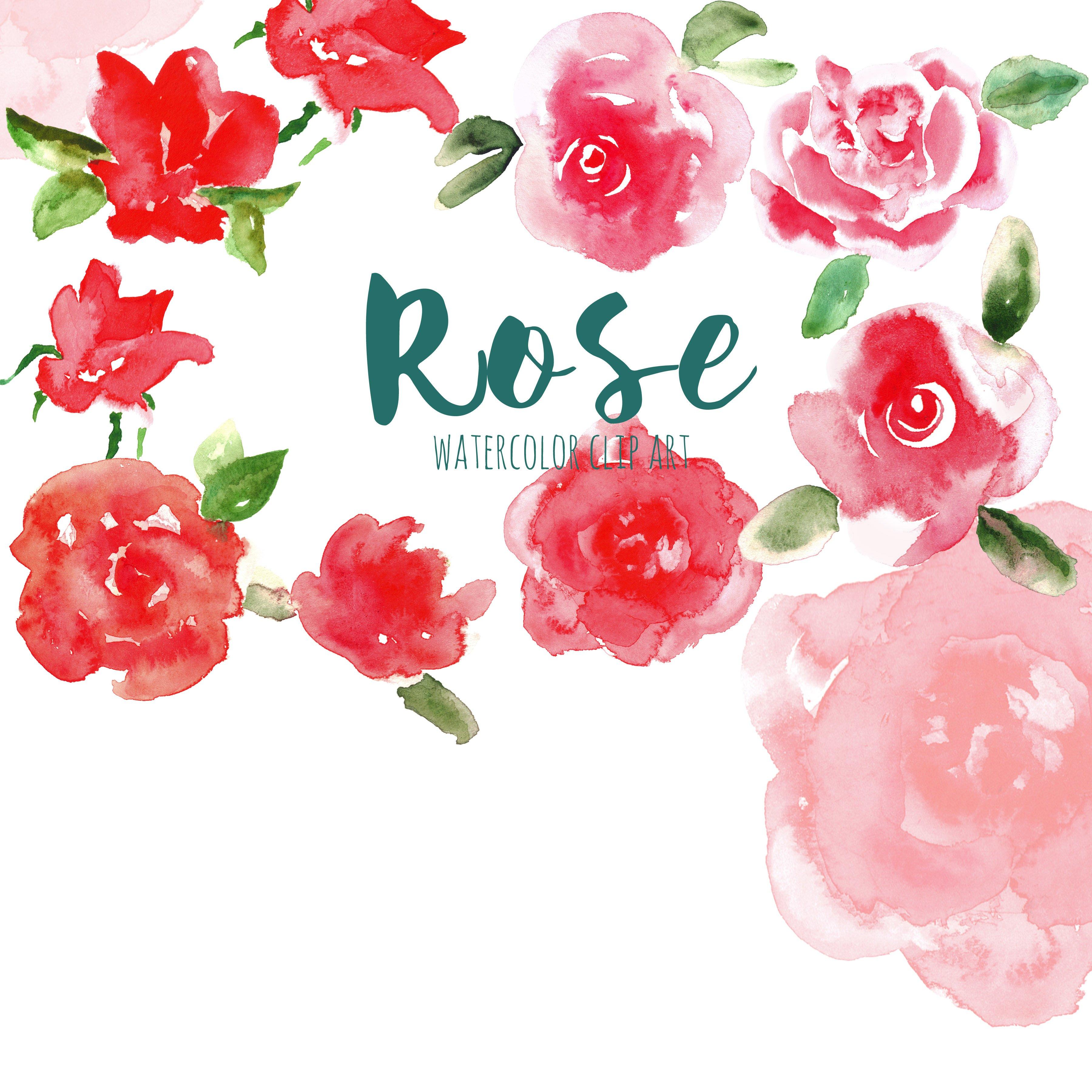Red Rose. Watercolor clip art ~ Graphics ~ Creative Market