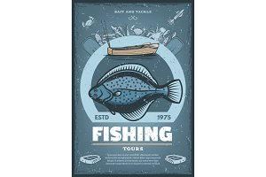 Vintage poster for fishing tours