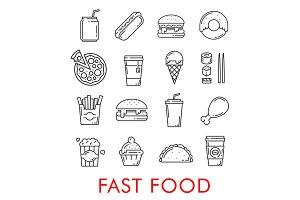 Fast food restaurant line art icons