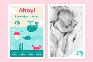 Ahoy! Printable Baby Announncement