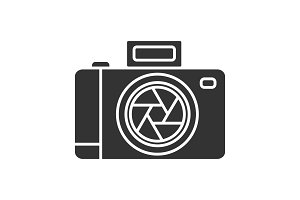 Professional photo camera glyph icon