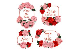 Flowers frames for wedding card