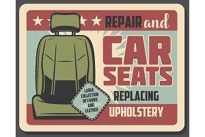 Car seat repair service retro design