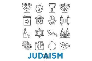 Vector Judaism religious symbols