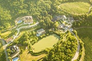 aerial top view of luxury summer cot
