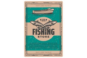 Vintage poster of fishing boat, fish