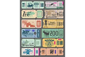Tickets of zoo animals and fish