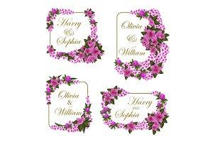 Wedding invitation frames of flowers