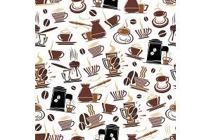 Vector coffee seamless pattern