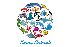Cartoon sea animals and fish