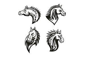 Vector icon of heraldic horse heads