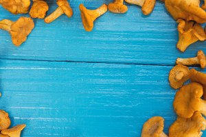 Chanterelle mushrooms scattered on a