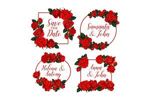 Rose floral frames for Save the Date
