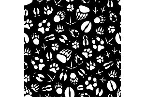 Seamless pattern animal footprints
