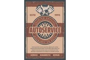 Vector poster car auto service