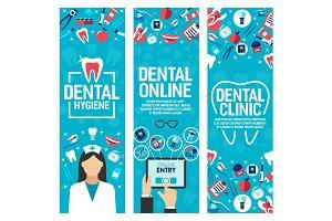 Vector banners dental health clinic