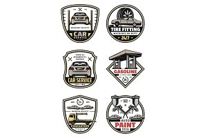 Vector retro icons car auto service