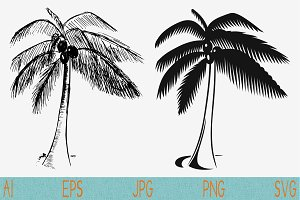 palm tree coconut svg png eps set