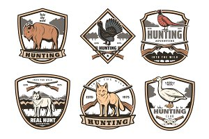 Vector icons of hunting sport