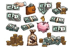Sketch icons of money and coins