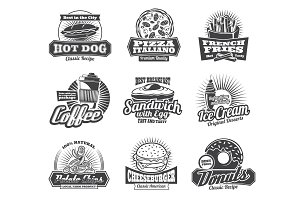 Fast food restaurant or bistro icons