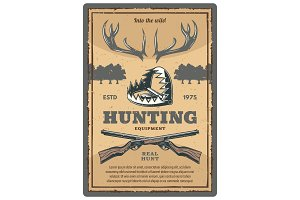 Vector poster of hunting equipment