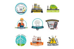 Electricity power technology icons