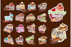 Stickers of pastry desserts and cake