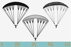 Paraglider, paraplane set vector svg