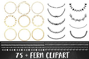 Gold Foil Wreath Clipart Set