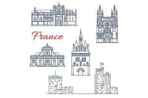 France travel Bordeaux icons