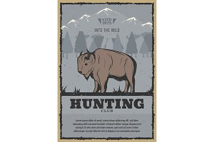 Vector poster for buffalo hunt