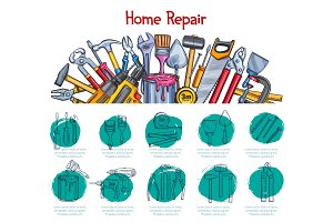Home repair poster of work tools