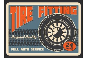 Retro poster for car tire fitting