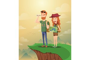 Backpacker Couple planning the route