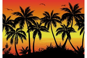 Seamless Landscape, Palms, Ocean and