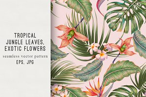 Tropical flowers botanical pattern