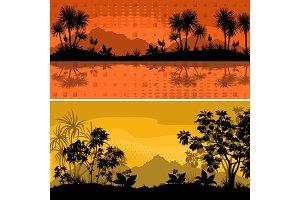 Set Landscapes, Palms and Plants