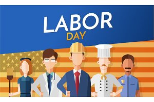 Labor day card with people