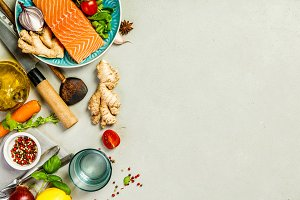 Raw salmon fillet and ingredients fo