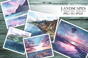 Landscapes. Watercolor sketches
