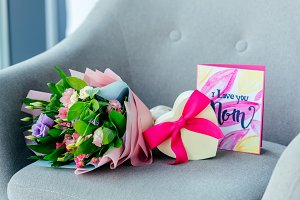 close up view of wrapped bouquet of