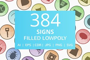 384 Signs Filled Low Poly Icons