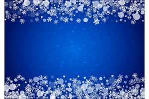 Snow frame with white snowflakes