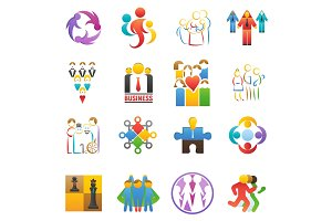 People team icons vector abstract