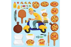 Pizza delivery boy Italian pizzeria