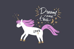 Vector cute unicorn art and sign