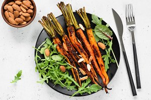 Roasted carrots with green salad